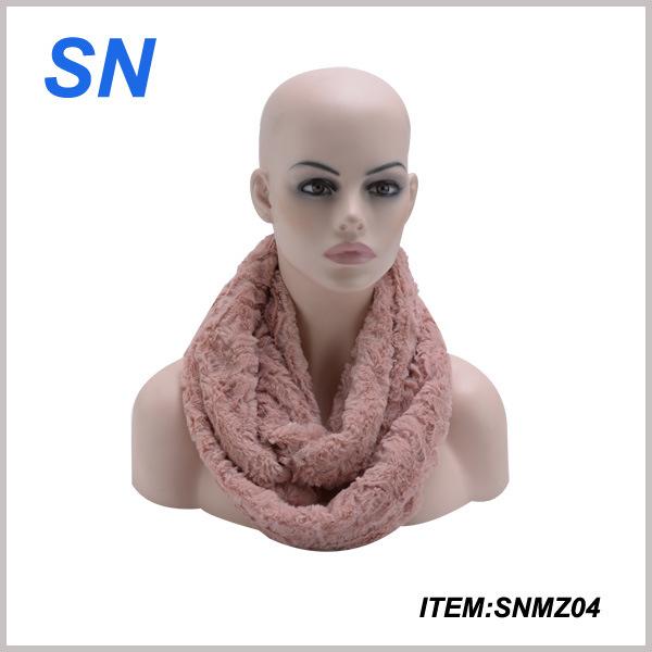 2015 Winter Fashion Rose Imprint Fur Infinity Scarf for Women