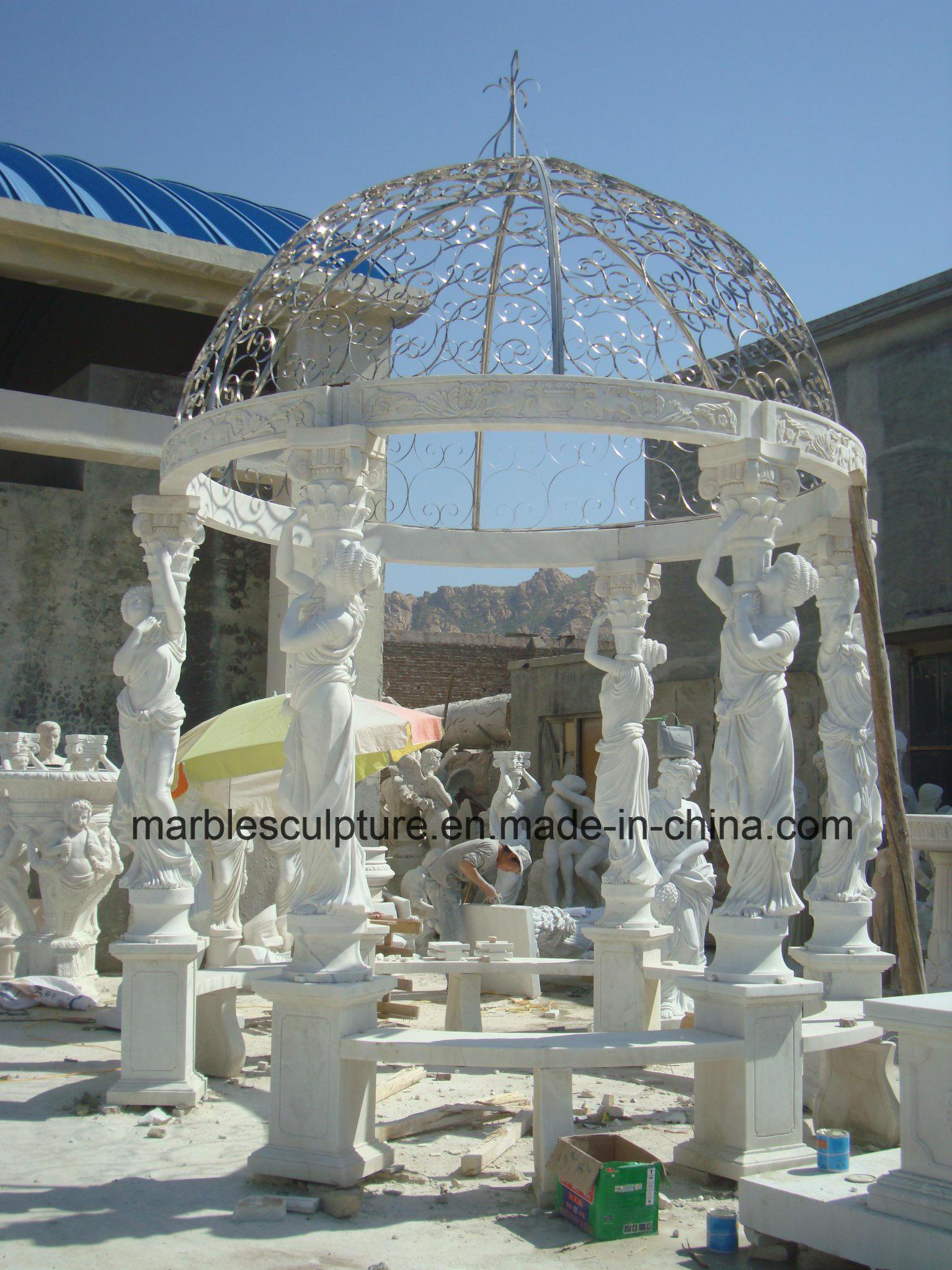 White Carrara Qu Yang Stone Sculpture Marble Gazebo (SY-G014)