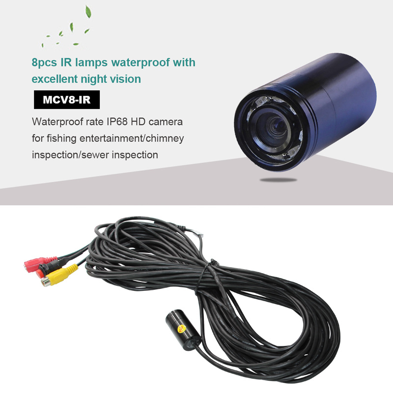 150m Long Cable Wide Angle Color HD Waterproof Camera with 8LED/IR850nm/940nm for Underwater Exploring/Fishing/Inspection