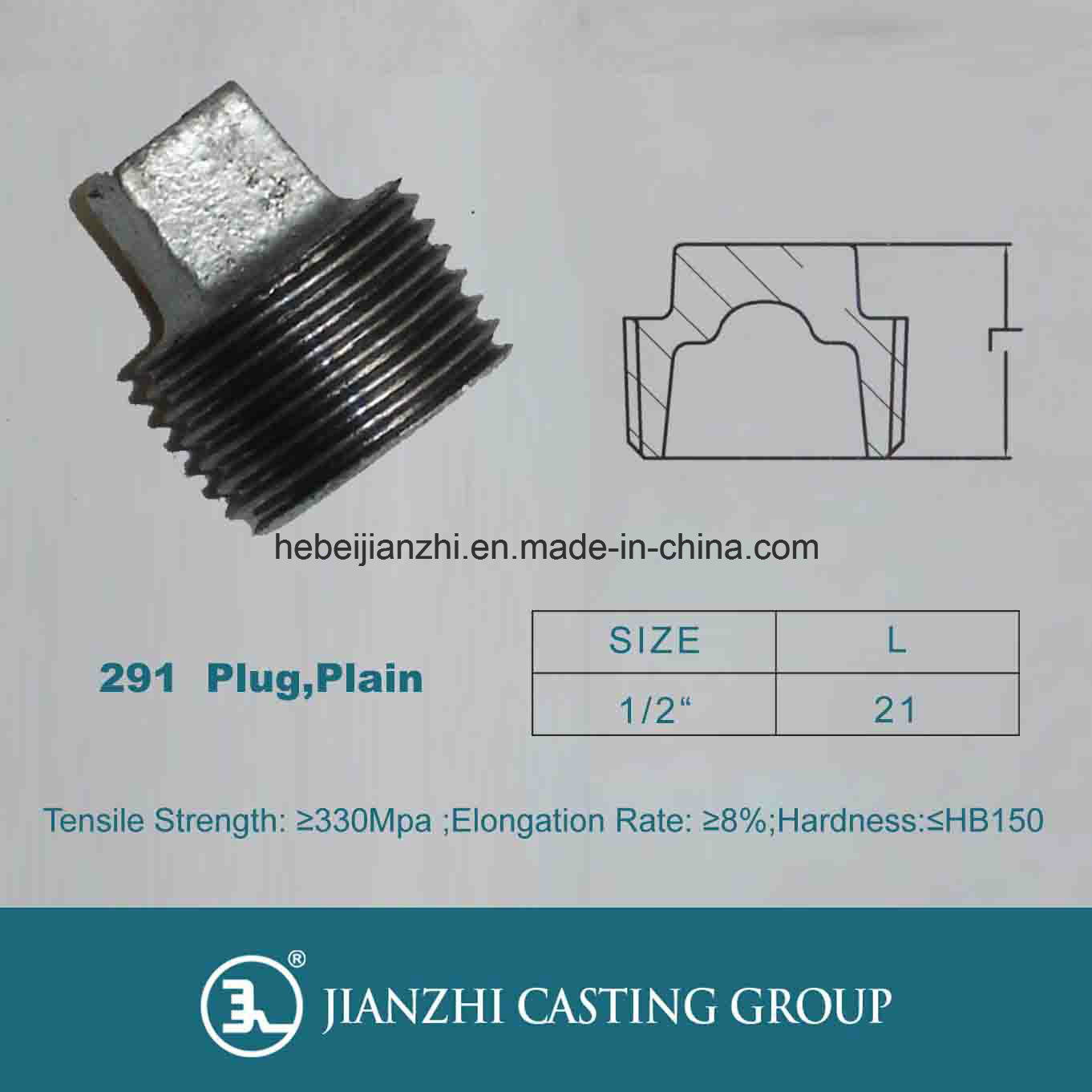 Malleable Iron Pipe Fittings Plug