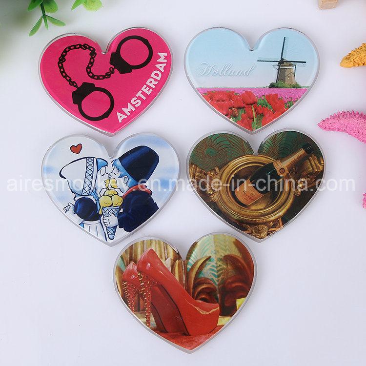Heart Shape Tourist Souvenir Acrylic Fridge Magnet