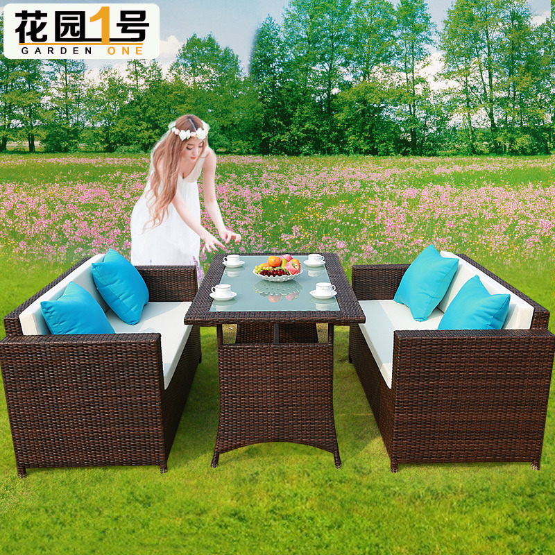 9 PCE Dining Set Table & Chairs Wicker Rattan Outdoor Sofa Set