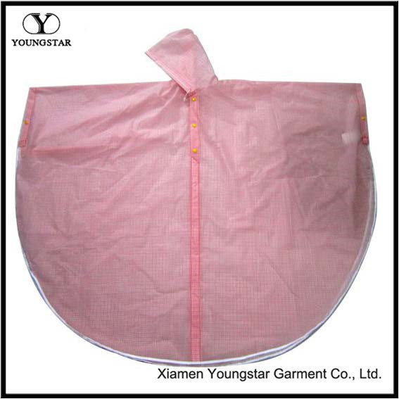 Pink Color Fashion Design PVC Rain Cape for School Girls