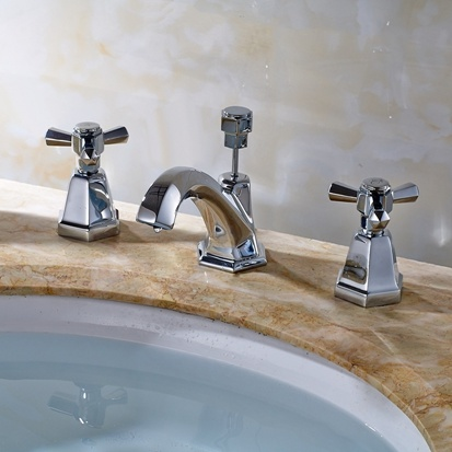 China Deck Mounted Double Handle Bathroom Taps Square Bathroom ...