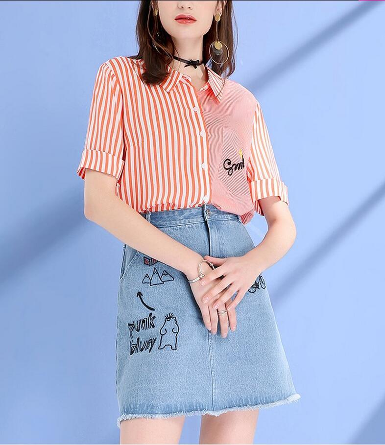 Summer Stripe Round Neck Short Sleeve Fresh Ladies Shirts