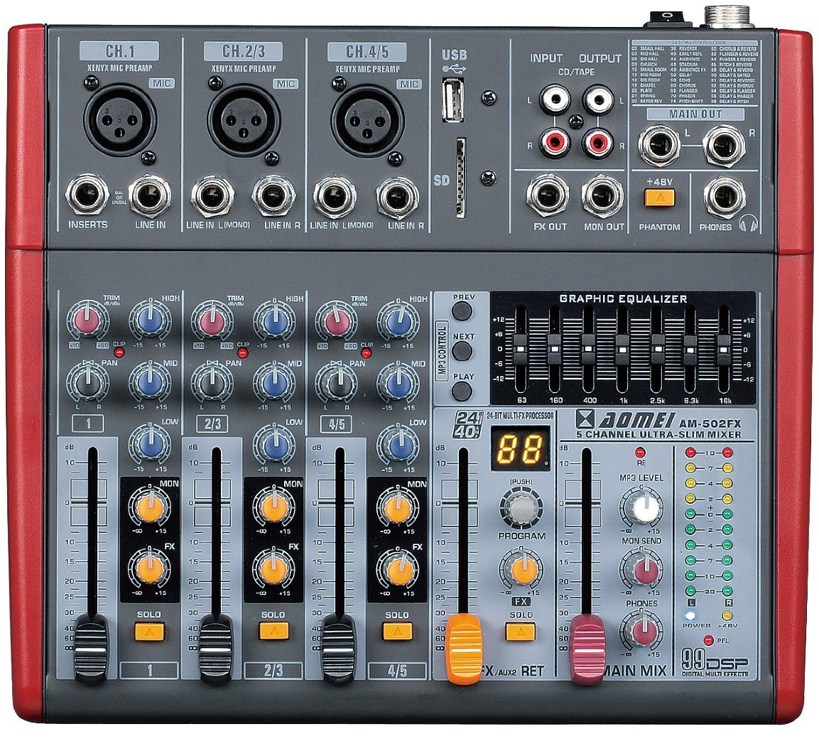 Special Popular Design Smaller Mixer Am-502fx Series Professional Amplifier
