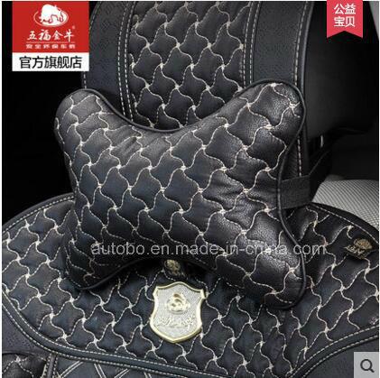Car Headrest Neck Pillow Bone Shape Windmill Pattern-Black