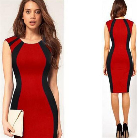 Women High Quality Cotton Tight Office Lady Pencil Dress (Dress 122)