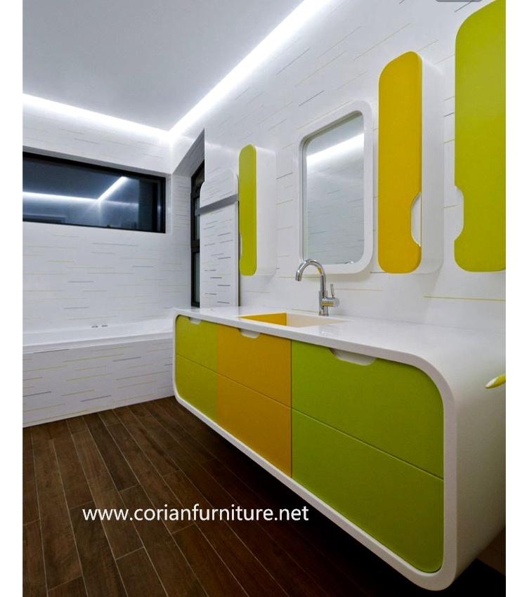 Bathroom Corian Made Vanity Cabinets