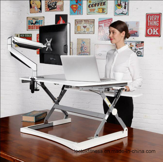 "Loctek 27"" Wide Platform Height Adjustable Standing Desk Riser, Sit-Stand Workstation, White (MT101S)"