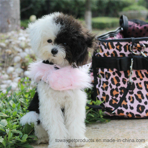 Luxury Dog Products Black Fleece Fur Pet Harness with Lead
