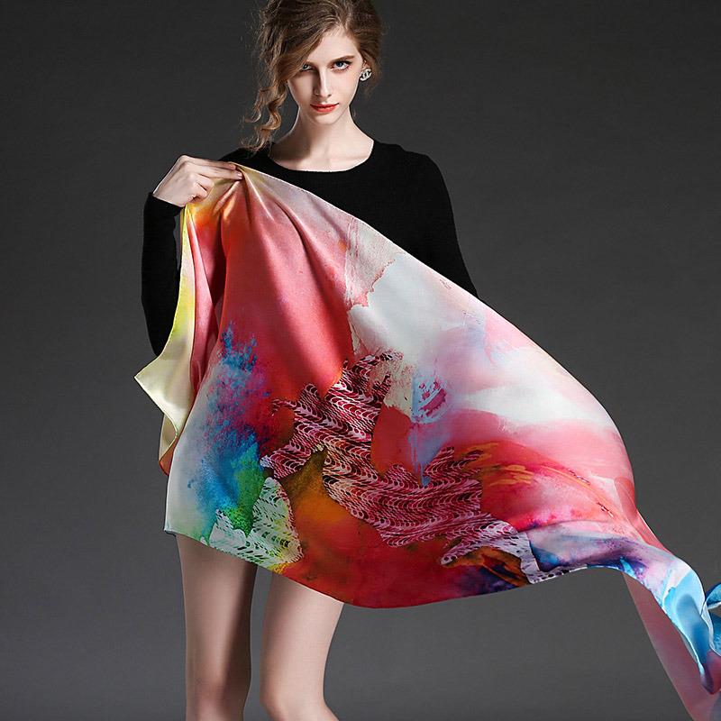 Real Silk Satin Scarf Digital Printing Long Scarf Shawl Sp2274-3