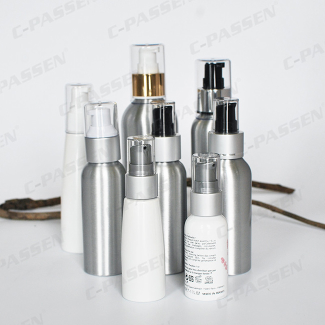 Custom Printed Aluminum Cosmetic Bottle with Dispenser Pump (PPC-ACB-040)