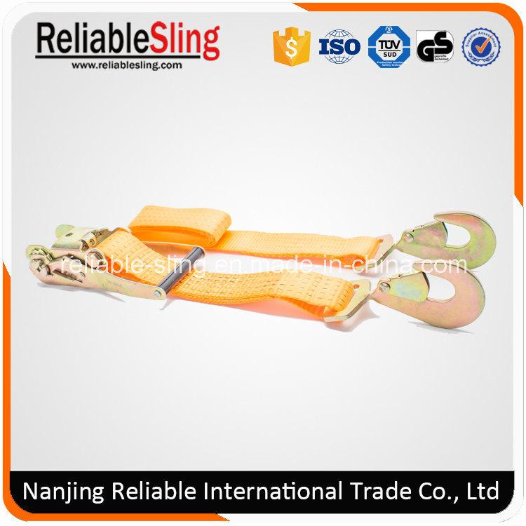Ce GS ISO 2 Inch 5000 Kg Orange Tie Down with Plastic Ratchet Handle