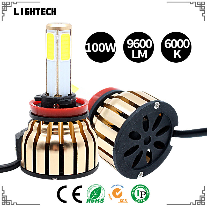Newest Golden 100W 4 Sides COB LED Headlight with LED Car Welcome Door Light From The Factory and Auto Parts LED (H4 H7 H11 9006 H1 H3 H13 9012)