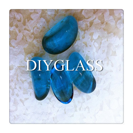 Blue Colored Block Glass for Garden Decoration