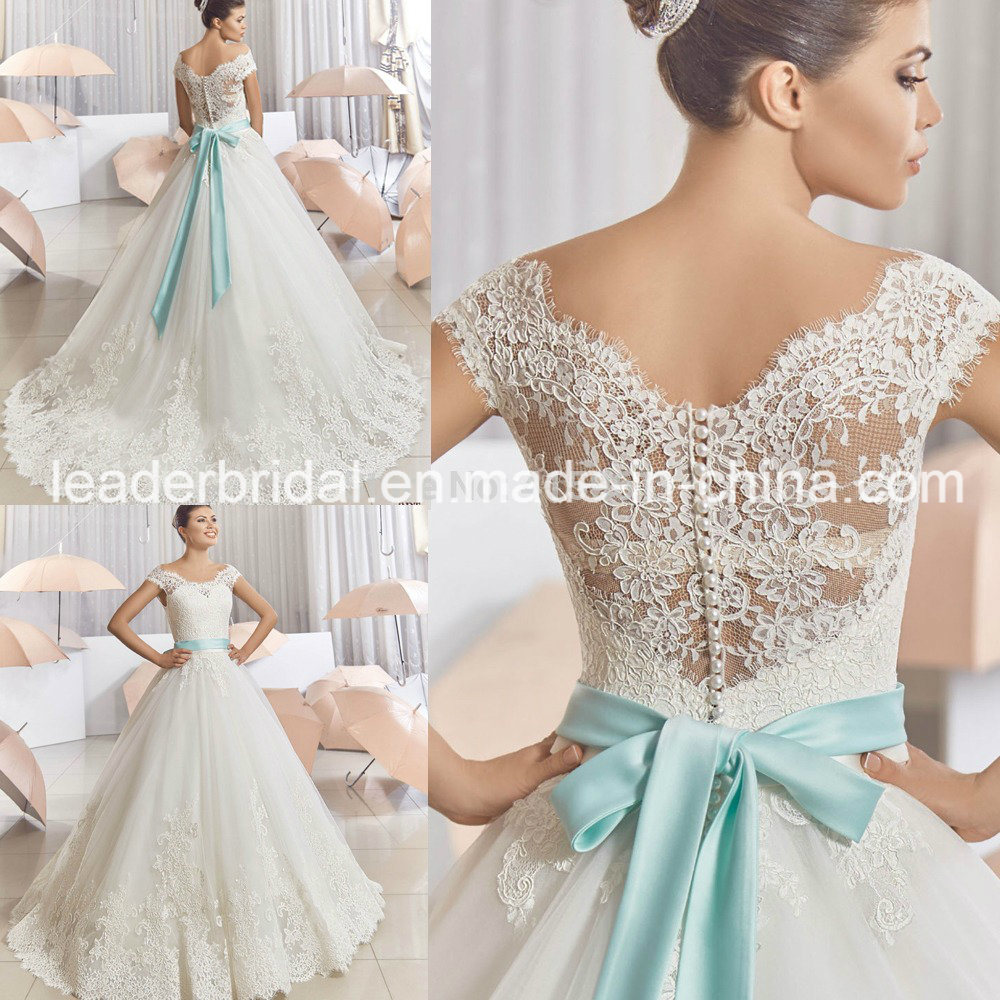 China blue bow sash bridal ball gowns lace wedding dresses for Blue sash for wedding dress