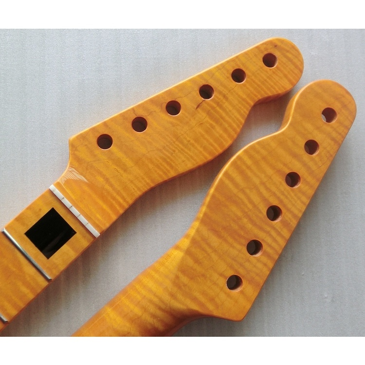One Piece Flame Maple Tele Guitar Neck with Block Inlay
