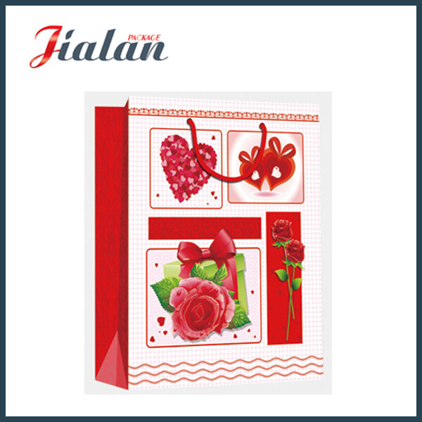Custom Made Glossy Lamination Ivory Paper for Valentine′s Day Gifts Gift Paper Bag