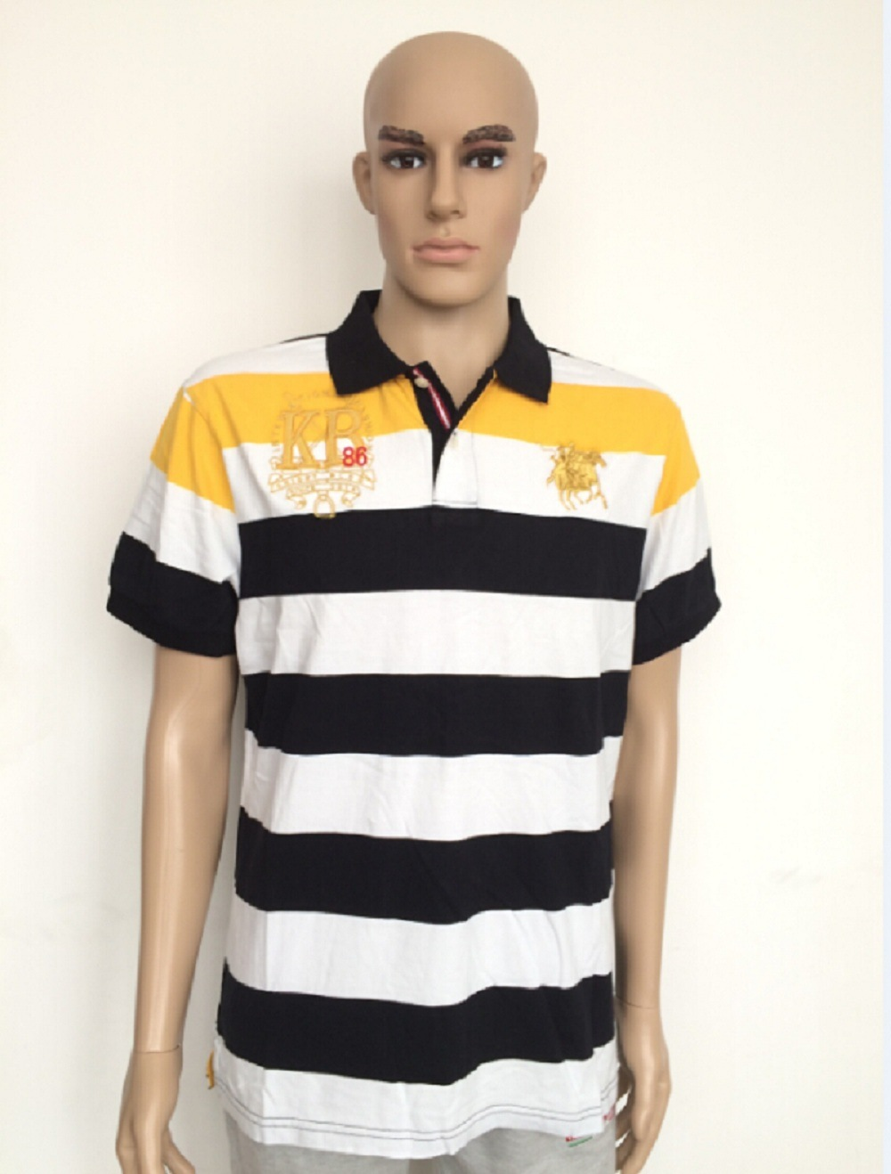 Good Quliaty Cotton Fashion Stripe Polo Shirt with 3 Buttons