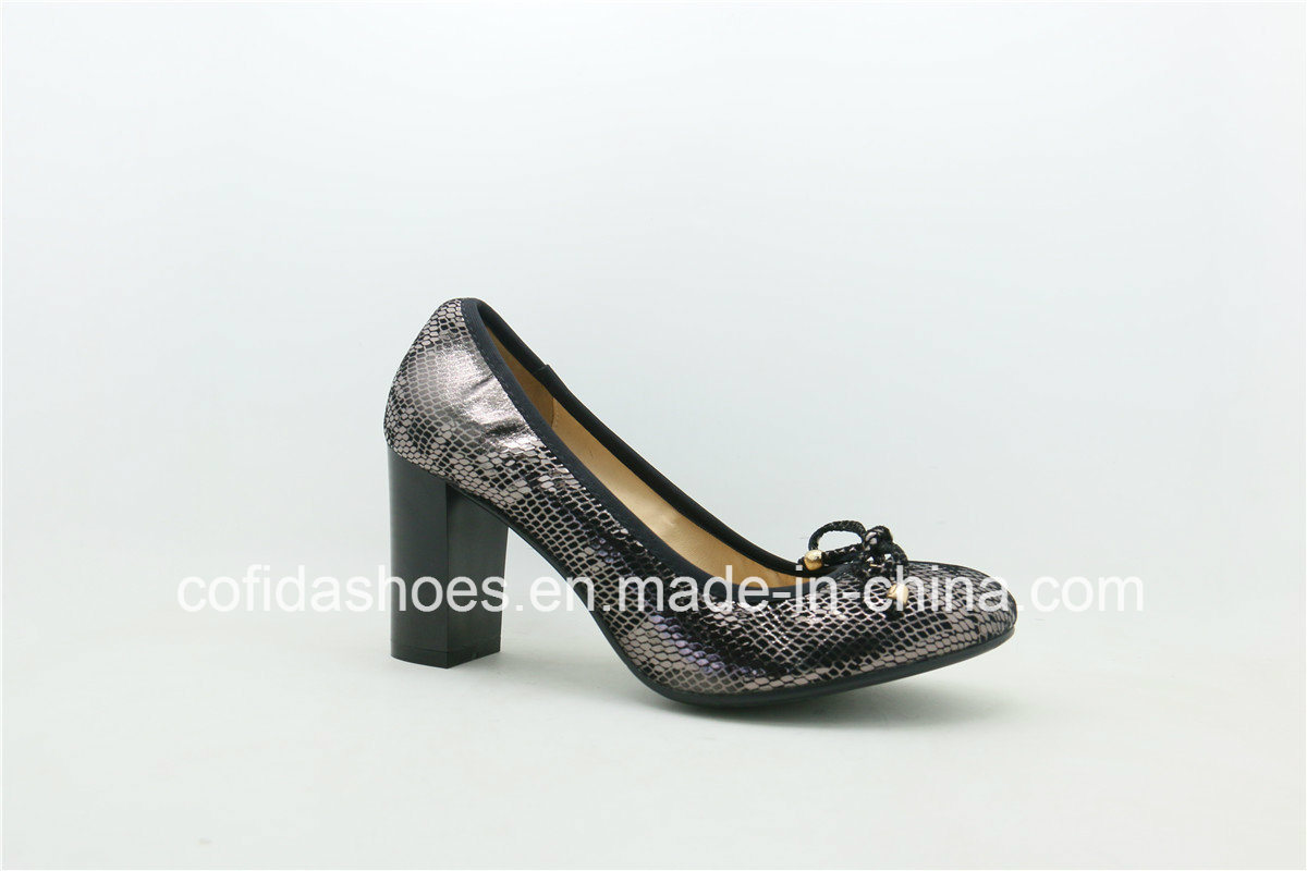 Shiny Design Chunky Heel Leather Ladies Shoes with Elastic