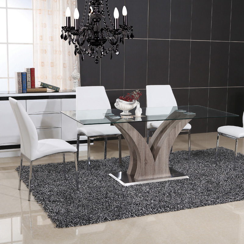 Stainless Steel Dining Room Glass Table with Chair (ET60 & EC58)
