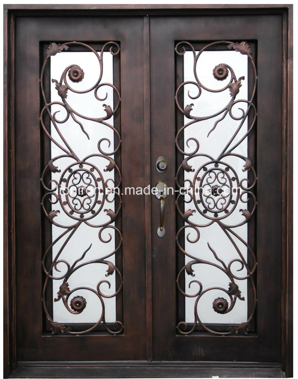 Wought Iron Square Top with Sidelights Front Entry Door