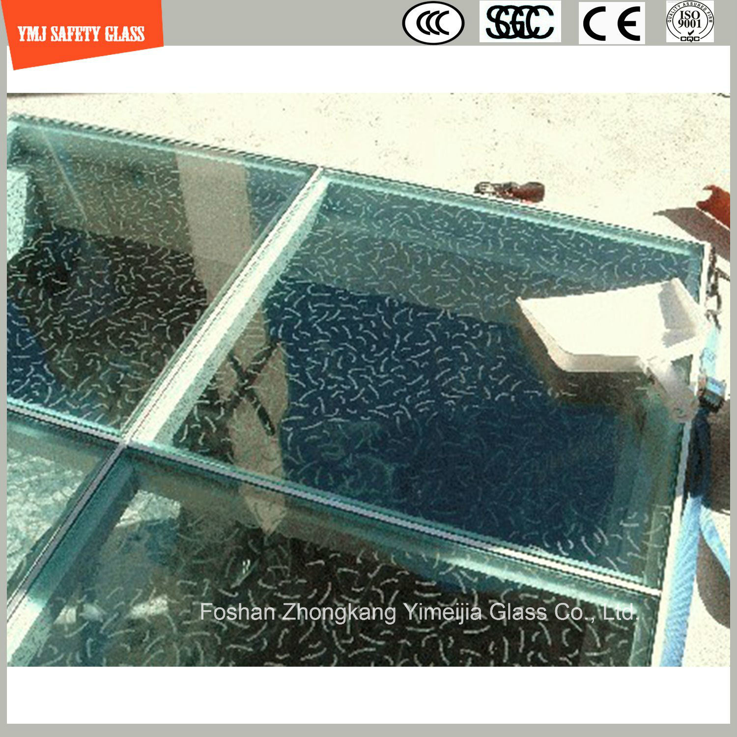 Screen Printing Tempered Anti Slipping Glass for Floor