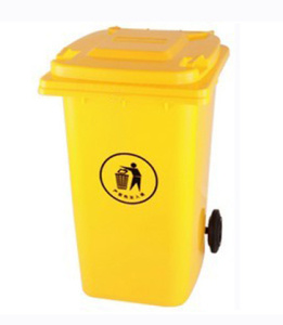 Yellow 240L Plastic Mobile Garbage Bin