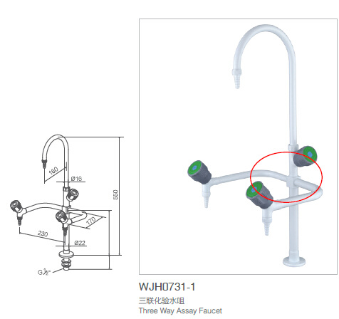 Laboratory Furniture, Three Way Assay Faucet (WJH0731-1)