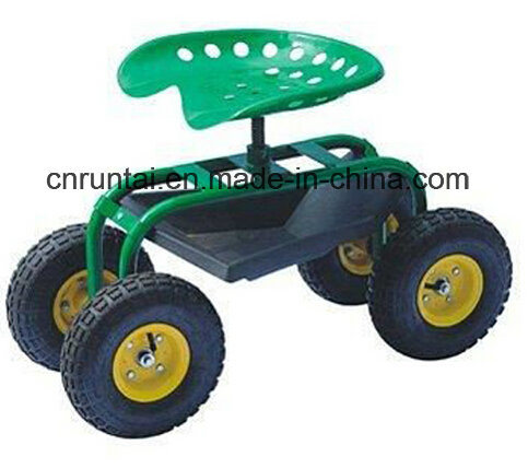 Four Wheels Garden Rolling Work Seats Tool Cart