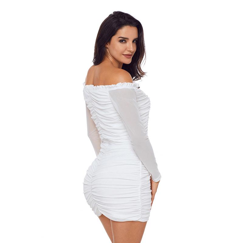 Ladies Fashion Black Mesh Ruched off Shoulder Mini Dress