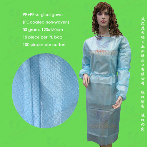 Non-Woven/Non Woven/Nonwoven Disposable Surgical Gown, Disposable Isolation Gown