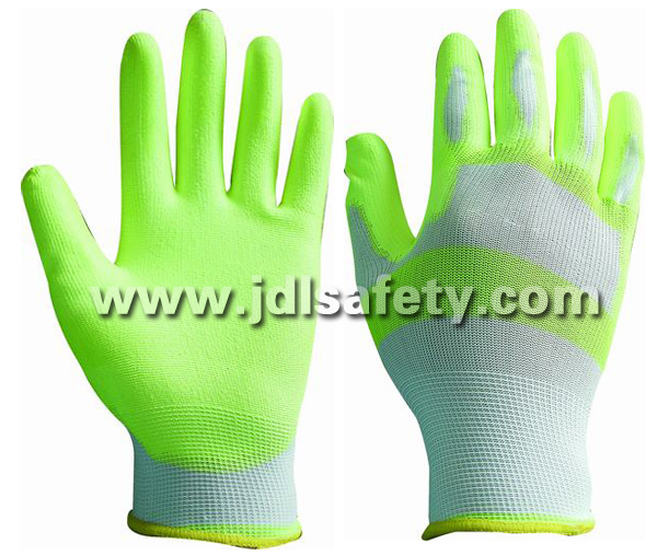 White/Hi Viz Yellow Nylon Work Glove with PU Palm Coated (PN8115)