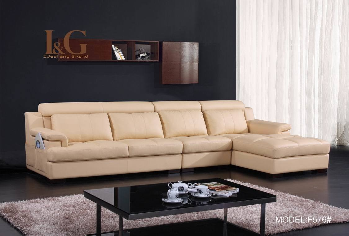 China modern real leather sofa f576 china real leather for Furniture leather sofa