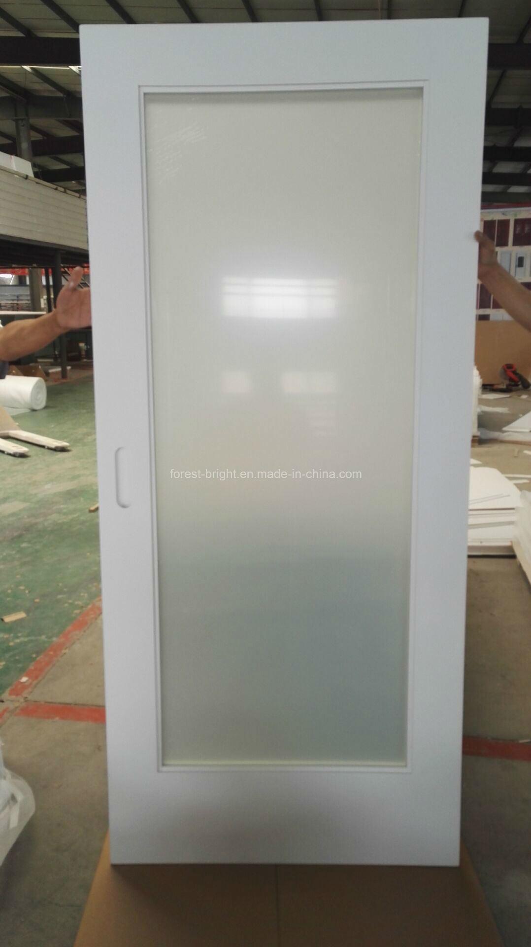 Marriott Hotel, White Painted Laminated Glass Sliding Barn Door Style for Bathroom Entry Door