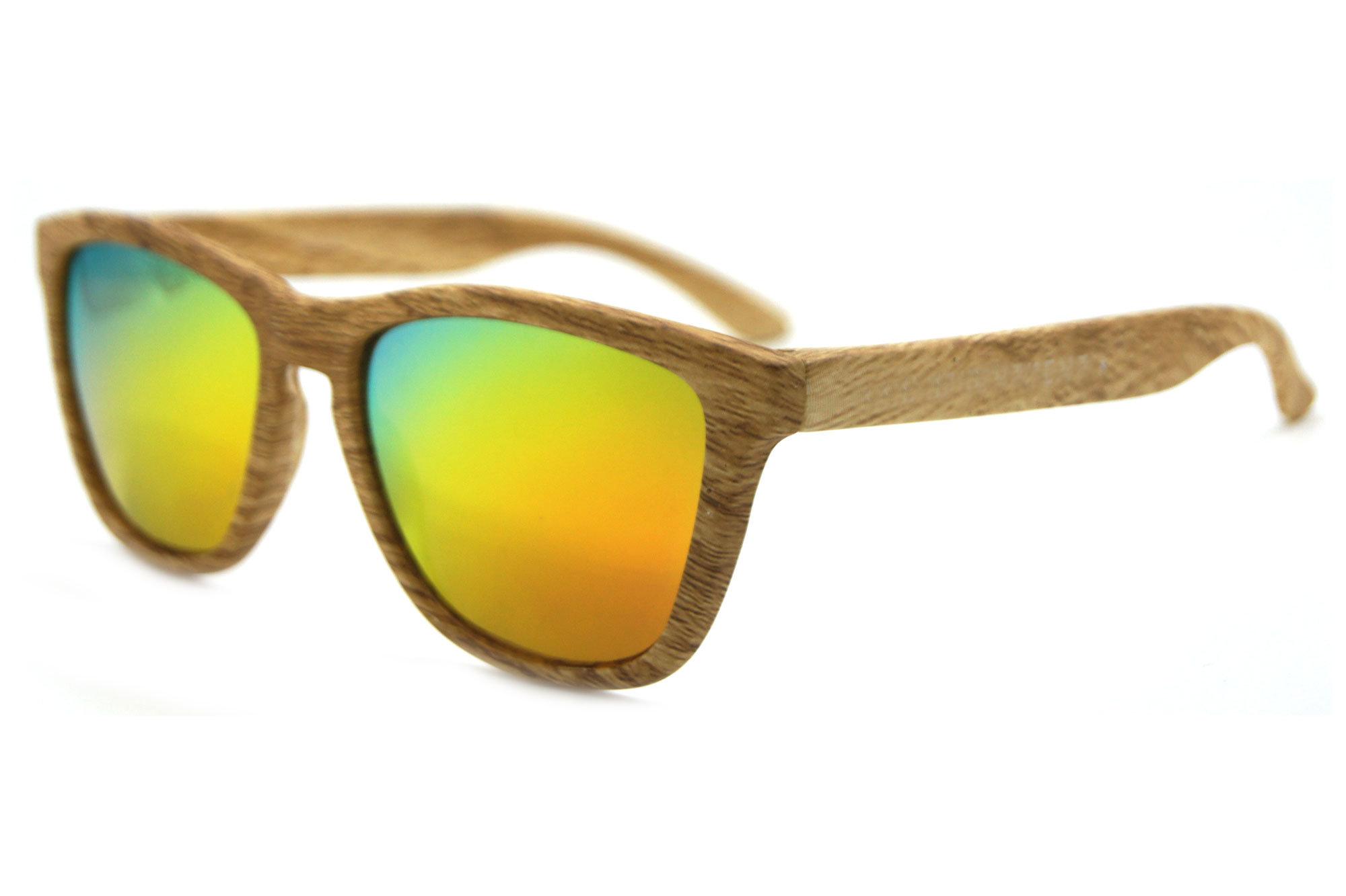 Colorful Wood Color Plastic Frame Unisex Fashion Sunglasses