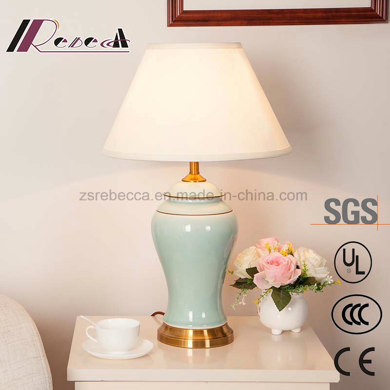 Chinese Style Ceramics Body Light off-White Table Lamp for Living Room