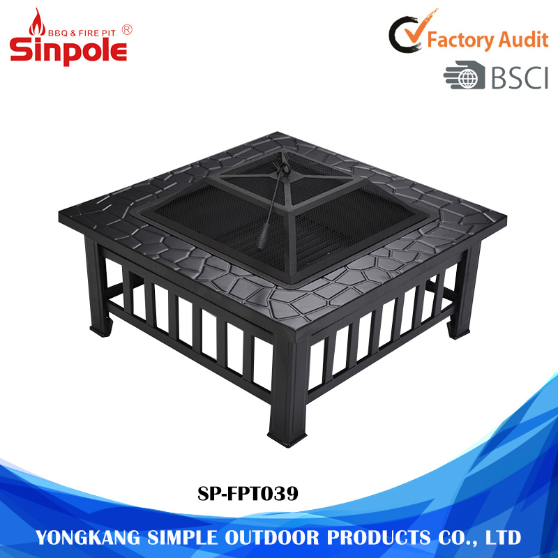 Multifunctional Outdoor BBQ Grilling Table and Fire Pit with Steel Frame