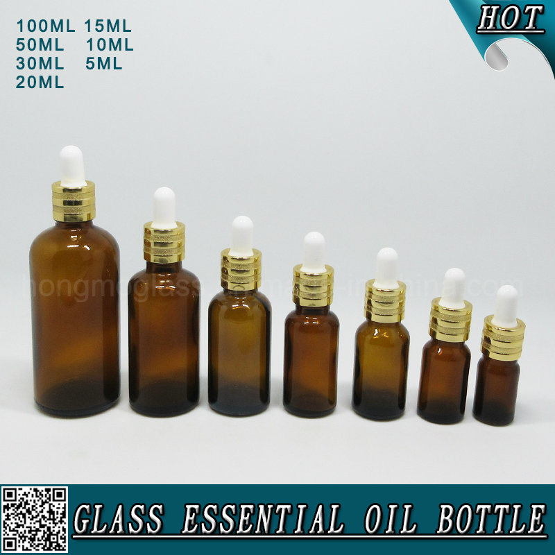 Amber Cosmetic Glass Dropper Bottles for Essential Oil