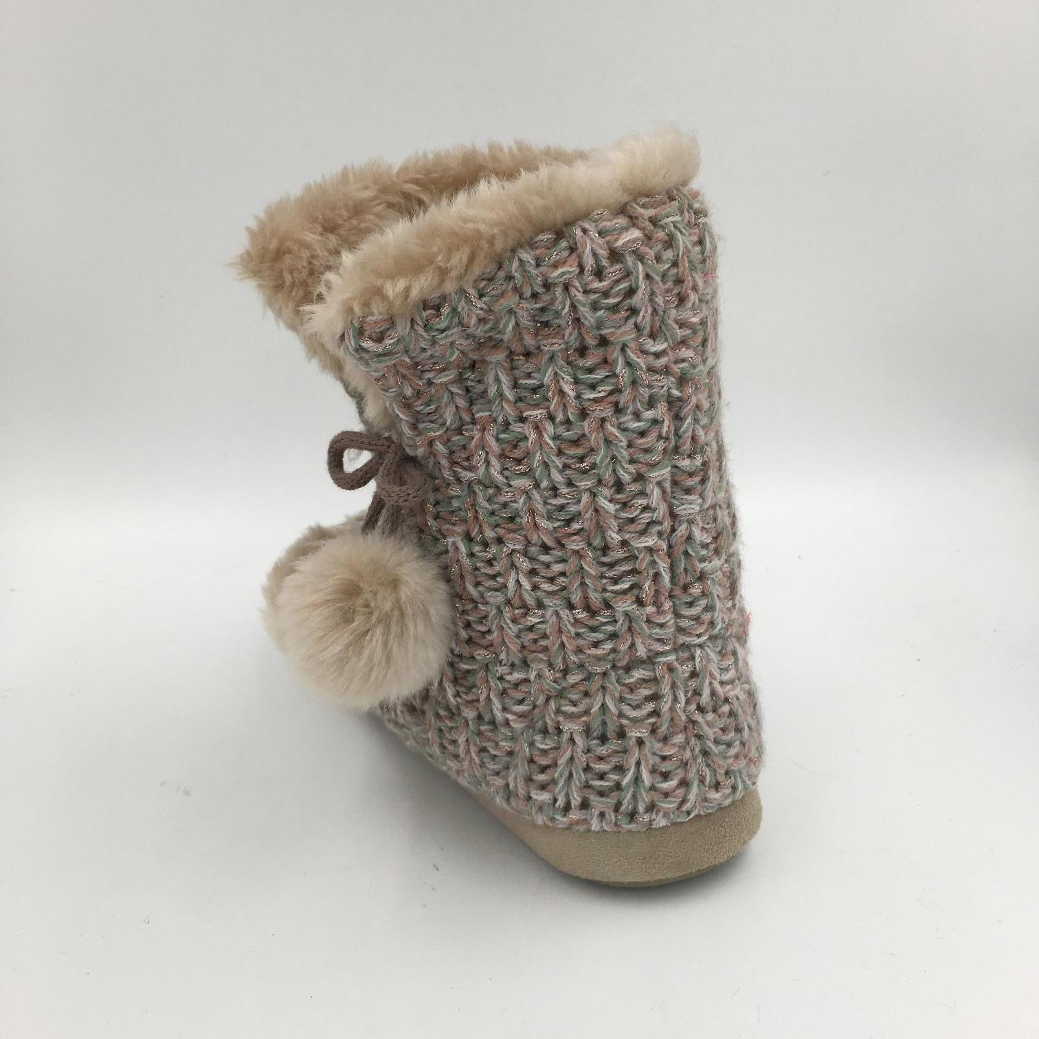 Lds Knit Brown MID-Calf Indoor Boots