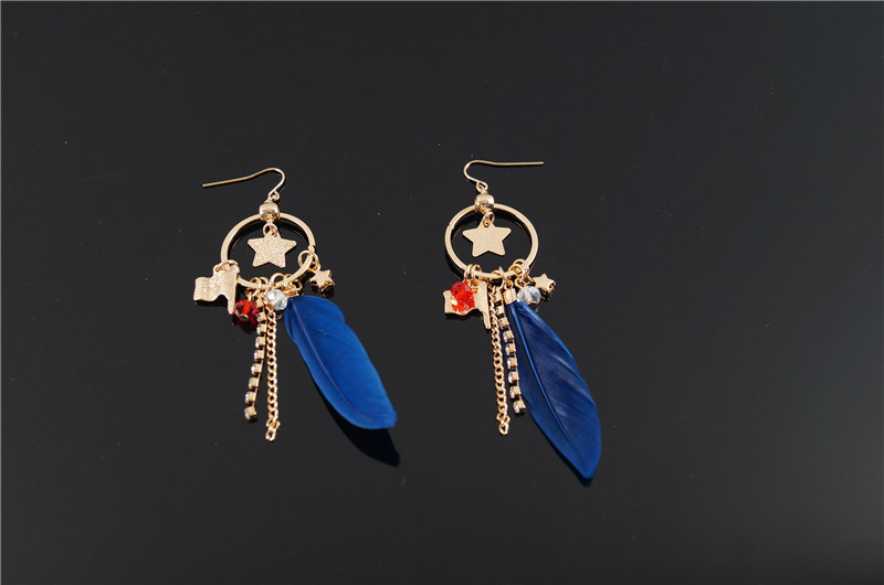 Feather with Charms Earring