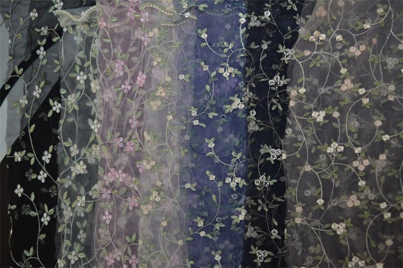 Elegance Mesh Lace Fabric with Embroidery