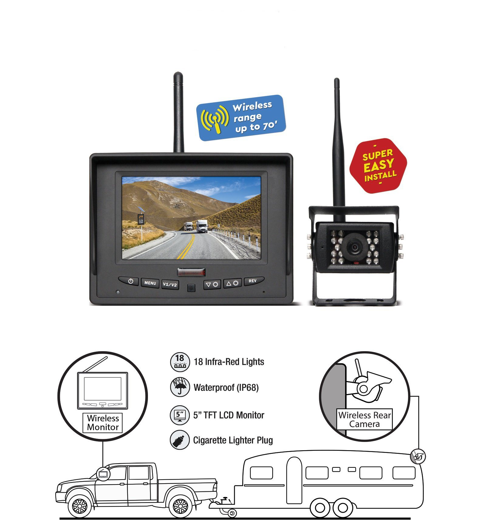 2.4G 5-Inch Wireless System Car Rear View Camera for Farm Tractor, Cultivator, Trailer, Truck
