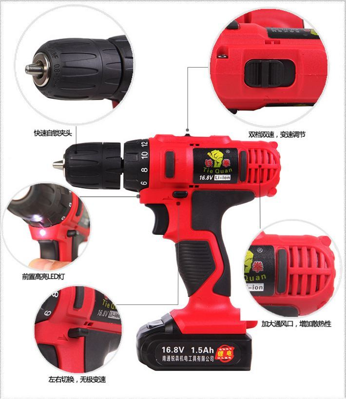 Cordless Hammer Drill with Li-ion Battery Popular Portable Electrical Hand Drill Tools