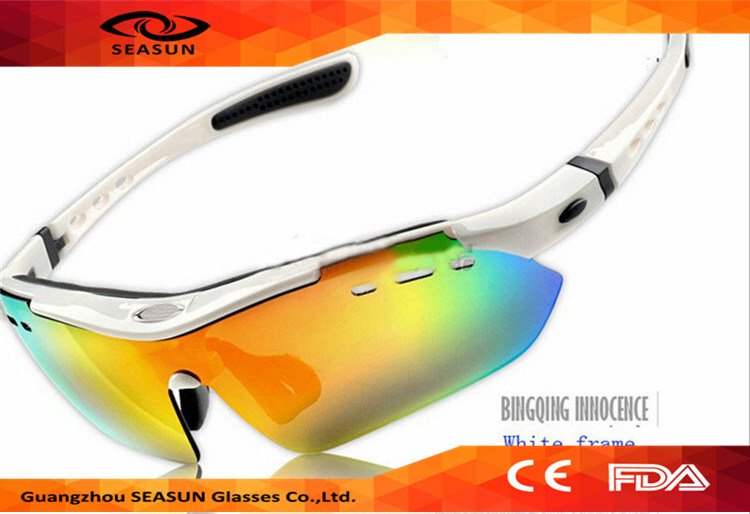 Wholesale 2016 Hot Selling Outdoor UV400 Revo Lens Cycling Goggles Cycling Sport Sunglasses with 5 Interchangeable Lens