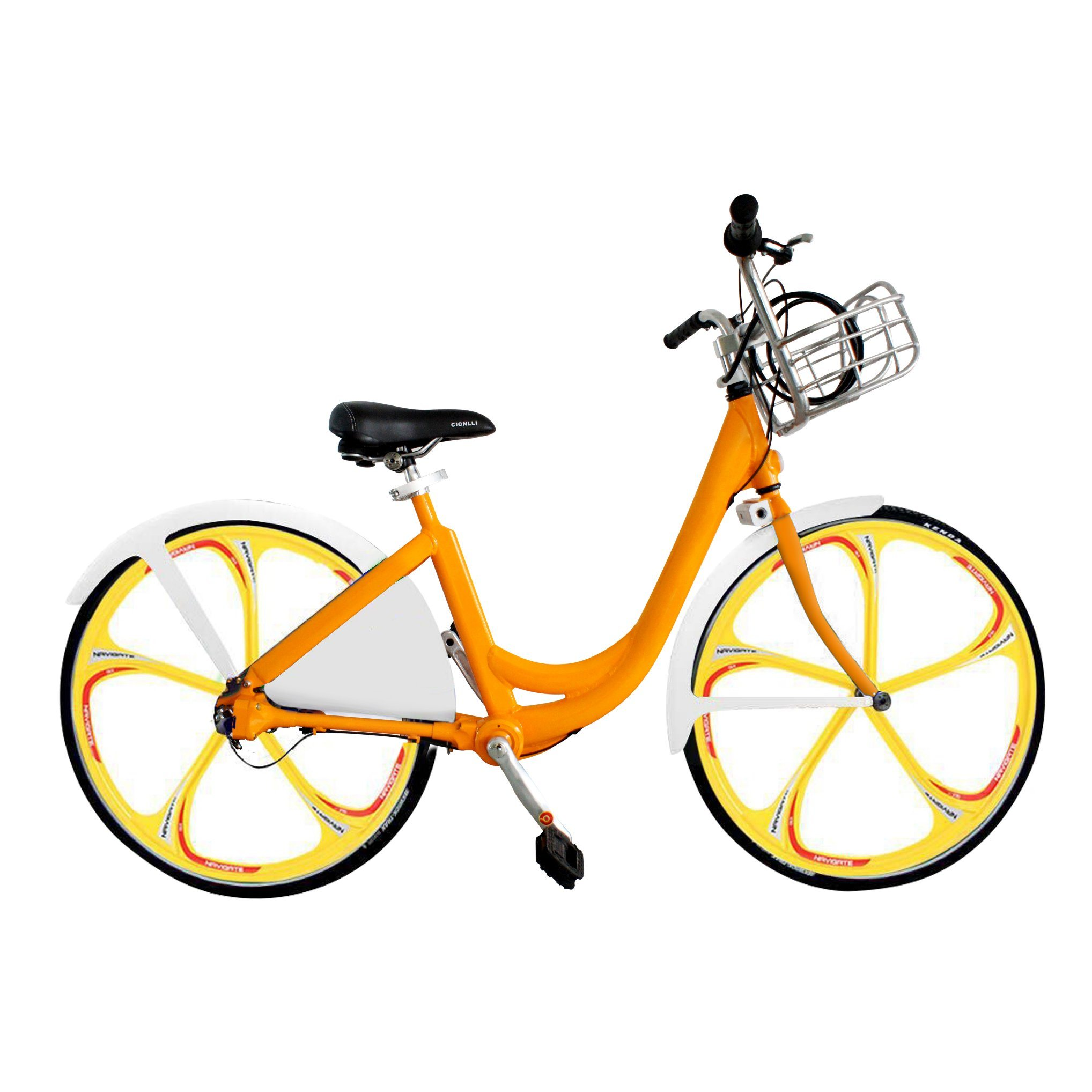 Mobike Style Self-Rental Shaft Drive Bike Sharing System with 3 5 Spoke Integrated Rim Wheel Smart GPRS Lock APP Supported