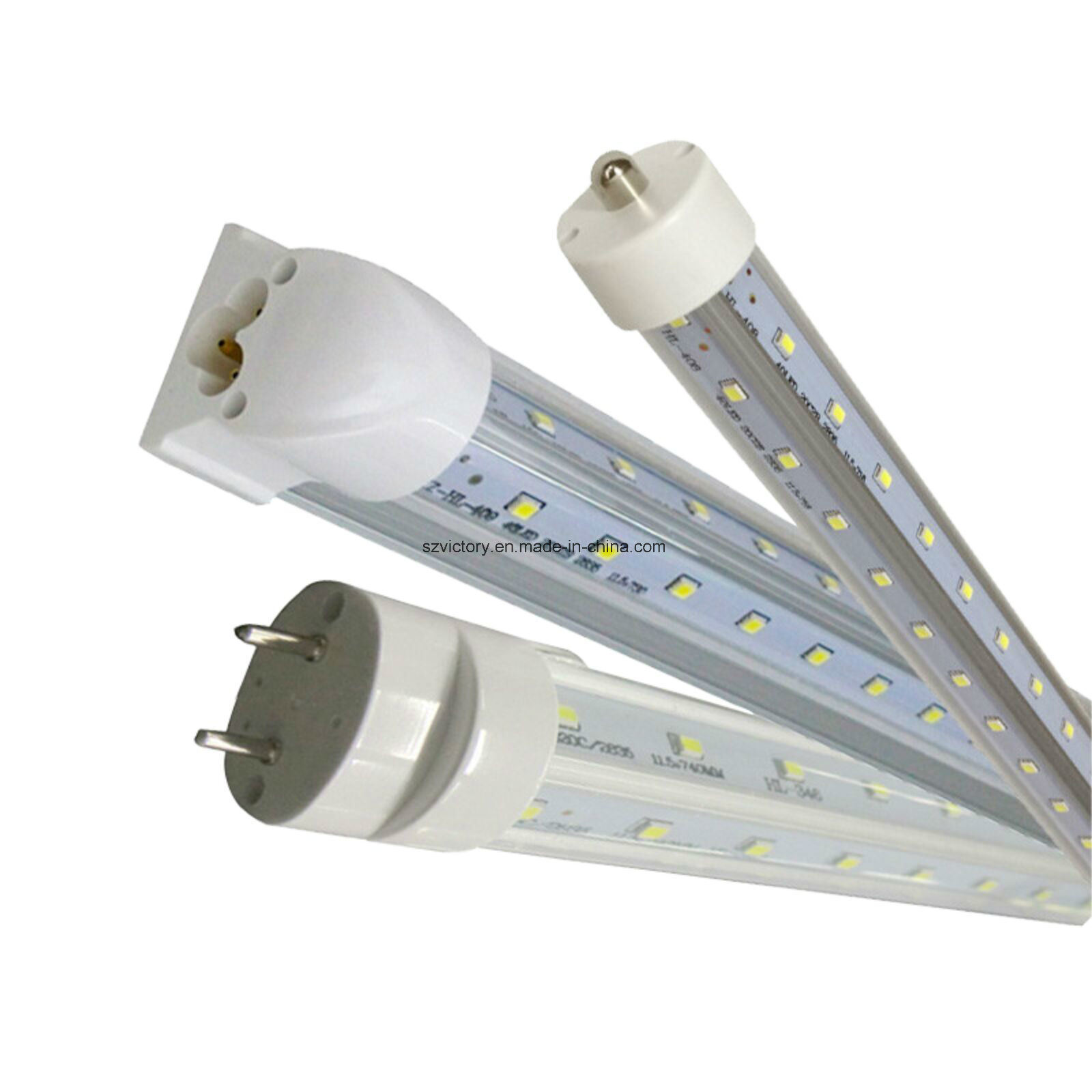 60W 8FT LED Tube Light Fixture V Shape UL cUL Daylight T8 LED Tube 270 Degree Beam Angle