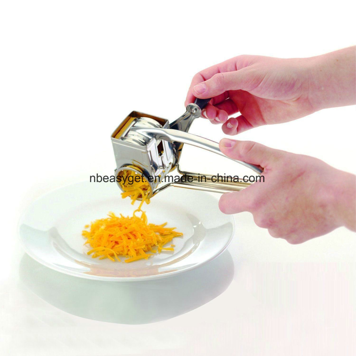 Stainless Steel Cheese Grater, Rotary Razor Sharp Blades, Removeable Parts for Fast Cleanup Lightwieght and Versatile, Home Kitchen Tools Esg10140