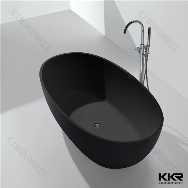 Kingkonree Solid Surface Freestanding Matt Black Bath Tub